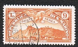 1931 SAN MARINO Posta Aerea.  LIRE 9 VEDUTA DI SAN MARINO USATO - Poste Aérienne