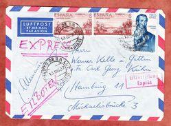 Luftpost, Eilzustellung Expres, MiF San Elias Alaska U.a., Puerto De La Luz Ueber Frankfurt Nach Hamburg 1967 (44367) - 1961-70 Storia Postale