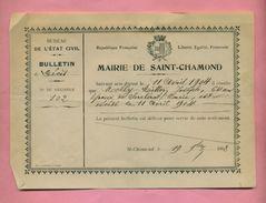 GENEALOGIE / BULLETIN DE DECES : 1904  - VILLE DE SAINT CHAMOND   (  Loire  ) - Obituary Notices