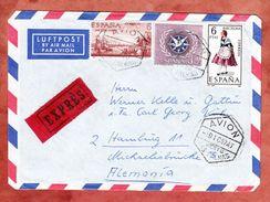 Luftpost, Expres, MiF San Elias Alaska U.a., Las Flores Ueber Frankfurt Nach Hamburg 1967 (44370) - 1931-Heute: 2. Rep. - ... Juan Carlos I
