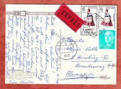 AK Gran Canaria, Expres, MiF Tracht U.a., Las Palmas Ueber Giessen Nach Hamburg 1967 (44372) - 1931-Heute: 2. Rep. - ... Juan Carlos I