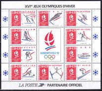 Bloc Feuillet Neuf** De 10 Timbres-poste Surtaxés - Albertville 92 Jeux Olympiques D'hiver - BF 14 (Yvert) - France 1992 - Neufs