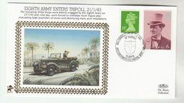 1993 GB Very Ltd EDITION COVER Anniv 8th ARMY ENTERS TRIPOLI WWII Libya Event British Forces Stamp Churchill - WW2
