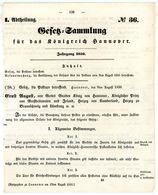 Königreich Hannover - Posttax Gesetz Vom 9. 8. 1850 - Postal Rates