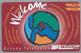 IT.- SCHEDA TELEFONICA. TELECOM ITALIA LIRE 10.000. € 5.16. New Welcome. Telefonica INTERNAZIONALE.. 2 Scans - GSM-Kaarten, Aanvulling & Voorafbetaald