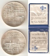 FINLAND - 10 MARKKAA SILVER 1967 - INDEPENDENT FINLAND 50 YEARS  COMMEMORATIVE COIN - - Finland