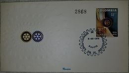 L) 1976 COLOMBIA, COMMEMORATING THE 50TH ANNIVERSARY OF THE ROTARY CLUB, 1926 - 1976, FDC - Colombie