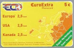 DE.- Telefoonkaart. ECO. EUROEXTRA PHONECARD. 5 €. Super Verbindung. 2 Scans - GSM, Voorafbetaald & Herlaadbare Kaarten