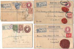 AR048) GREAT BRITAIN - LOT OF 7 REGISTERED  POSTAL STATIONERY - Interi Postali