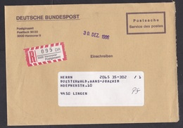 Germany: Official Registered Cover, 1986, Postal Service, Postgiroamt Hannover, Bank, R-label (traces Of Use) - Brieven En Documenten