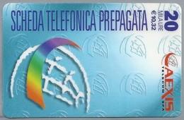 IT.- SCHEDA TELEFONICA PREPAGATA. 20 MILA LIRE - € 10.32. AEXIS TELECOM SPA. 2 Scans. - GSM-Kaarten, Aanvulling & Voorafbetaald