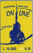 IT.- INTERNATIONAL PHONE CARD. ON LINE IN THE WORLD. - L. 10.000 - € 5.16.  2 Scans. - GSM-Kaarten, Aanvulling & Voorafbetaald