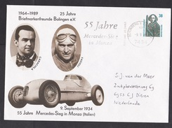 Germany: Stationery Illustrated Cover To Netherlands, 1989, Mercedes Benz Classic Car Race, Nice Cancel (traces Of Use) - [7] West-Duitsland