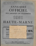 ANNUAIRE TELEPHONIQUE   HAUTE MARNE  1951   BON ETAT - Vieux Papiers
