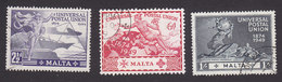 Malta, Scott #225, 227-228, Used, UPU, Issued 1949 - Malta (...-1964)