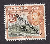 Malta, Scott #215, Used, George VI Overprinted, Issued 1948 - Malta (...-1964)