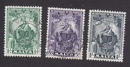 Malta, Scott #232-234, Used, Madonna And Child, Issued 1951 - Malta (...-1964)