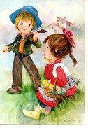 Enfants écoutent La Musique - ( Vêtement Brodée De La  Petite Fille ) - Scènes & Paysages