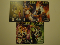 5 Remote Phonecards From Philippines - Globe - Basketball - NBA - Philippines