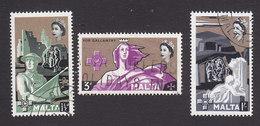 Malta, Scott #272-274, Used, Third George Cross, Issued 1959 - Malta (...-1964)