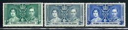 Turks & Caicos Islands    Coronation   Set   SC# 75-77 Mint - Turks And Caicos
