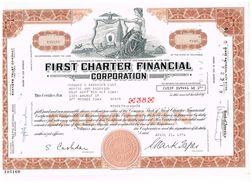 - Certificat De Valeurs Américaines - First Charter Financial Corporatio - Titre De 1971 - Industry