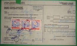 1989 YUGOSLAVIA 3 X 5000 DINARA POSTAL STAMP *PTT* SEAL *ZJUM* PAYMENT RECEIPT, KOSOVO - SERBIA BILINGUAL - Kosovo