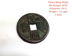 Ancient China Dynasty Coin Ming Rebel Wu Sangui 1678 With 1 Hole - China