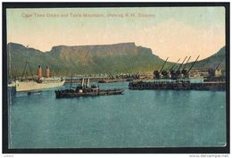 Cape Town Docks And Table Mountain, Showing R.M. Steamer Cruise Ship In Harbor South Africa (2 Scans) - Südafrika