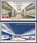 2017 Belarus Weissrussland  2v Minsk Metro Subway Train Mi 1182-1183 MNH - Belarus