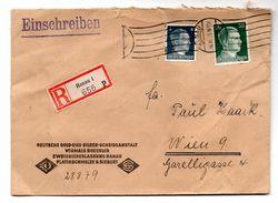 """Deutschland, 1942, Reko-Kuvert Mit 4+50Pfg., Stempel Hanau Und Siegel """"Degussa-Sieber, Hanau"""" Auf Rückseite (16688E) - Deutschland"""