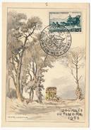 FRANCE - Carte Fédérale Journée Du Timbre 1952 - TOULON - Malle Poste - Vignette Locale Au Dos - Stamp's Day
