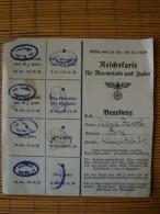 Reichskarte Für Marmelade Und Zucker, 23.10.-19.11.1939, Bensberg - Dokumente
