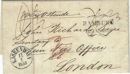 "1858- Letter From KJOBENHAVN   To London  - Transit HAMBURG  "" Via Ostende "" - 1851-63 (Frederik VII)"