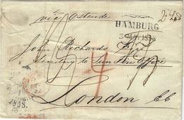 "1858- Letter From KJOBENHAVN   To London  - Transit HAMBURG  "" Via Ostende "" Several Rating - 1851-63 (Frederik VII)"
