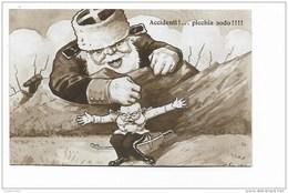 ACCIDENTI ! .... PICCHIA SODO - ZAR NICOLA II PICCHIA F. GIUSEPPE D'AUSTRIA ILLUSTRATA VEDI FIRMA PARTE DX INFER. NV FP - Künstlerkarten