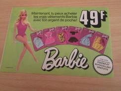 VETEMENTS A 49 F (belges) POUPEE BARBIE Pour  Collectionneurs ... PUBLICITE MATTEL Page De Revue Des Années 70 - Barbie