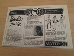 BARBIE PARLE C'est Pas Comme Jean Moulin !  Pour  Collectionneurs ... PUBLICITE MATTEL Page De Revue Des Années 70 - Barbie