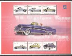 GHANA 2001 - Voitures Classiques Des Années 1960, Porsche, Mercedes, Aston Martin, Citroën 2 Cv - BF 6 Val Neufs // Mnh - Coches