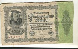 50000 MARK 19/11/1922 F+ 4 - [ 3] 1918-1933 : Repubblica  Di Weimar