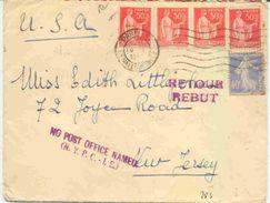 Lettre Pour Les Etats Unis Avec Retour à L'envoyeur - Postmark Collection (Covers)