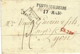 1833- Lettre En Port D De PORTO MAURIZIO / 17.MAR . + CS.2 R Rouge+entrée ITALIE PAR ANTIBES Noir - Storia Postale
