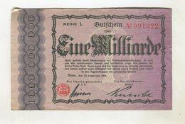 1MI  MARK 25/09/1923 F+ 4 - [ 3] 1918-1933 : Repubblica  Di Weimar