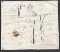 """FR - Marque Linéaire """"16 SAINTES"""" Pli Pour Genolhac En Port Dû Taxe 18 Décimes - B/TB - - Postmark Collection (Covers)"""