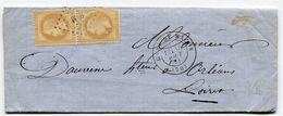 SAONE ET LOIRE De MACON LAC Du 14/07/1871 Avec N°28 En Paire Oblitérés P M + Dateur T 17 GARE DE MACON - 1849-1876: Periodo Clásico