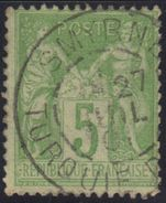 Sage N°102, Oblitération Smyrne (Turquie D'Asie). - 1898-1900 Sage (Type III)