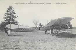 Camp De Châlons - M. Demanest Sur Son Monoplan Antoinette - Appareil Vu De Côté - Carte Guérin Non Circulée - ....-1914: Précurseurs