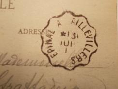 Marcophilie  Cachet Lettre Obliteration Timbre - Convoyeur Epinal à Aillevillers - 1919 (1654) - Marcophilie (Lettres)