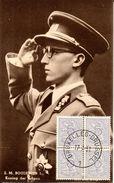 Deux Cartes Oblitérées Le Jour De La Prestation De Serment Du Roi Baudouin (voir Scans) - Cartas Commemorativas