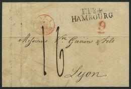 HAMBURG - THURN UND TAXISCHES O.P.A. 1839, TT.R.4. HAMBOURG, L2 Auf Brief Nach Lyon, Mit Roter Gestempelter Und Unterstr - ...-1849 Vorphilatelie